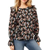 KENSIE NEW Women's Black Ruffled Floral-print Blouse Shirt Top M TEDO