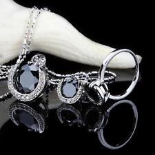 Schmuck Set Kette Ring Ohrringe Zirkonia schwarz 750er Gold 18K vergoldet S2793
