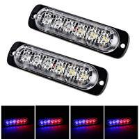 2X 6 LED 18W Car Emergency Warning Hazard Beacon Strobe Flash Light Kit Red&Blue