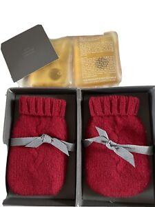 Restoration Hardware Mini Cashmere Hand Warmers Mittens Garnet Red new in box