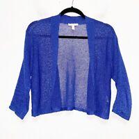 Eileen Fisher Blue Linen Blend Open Knit Shrug Cardigan Petite Womens Size PS