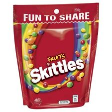Skittles Chewy Delicious Fruit Flavoured Lollies Candies Medium Bag 200g