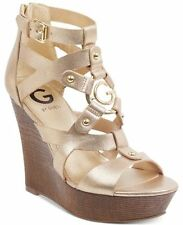 NEW G by GUESS Dodge Platform Strappy Wedge Sandals Gold sz 8 US