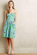 Anthropologie Plenty by Tracy Reese Pleated Peony Kirby Dress blue green floral
