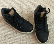 Cat & Jack Boy's Size 3 Black Mid-top Faux Leather Shoes Laces & Side Zip Euc