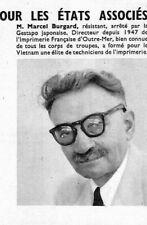 "INDOCHINE "" LEGION D' HONNEUR MARCEL BURGARD "" ILLUSTRATION 1954"