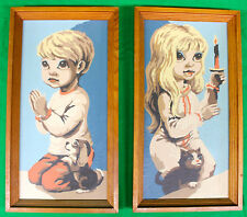 Original Vintage Large Eyed Girl and Boy Paint By Number 1950s-60s