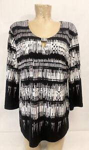 "JM Collection Black White Shirt Top Size L Large 23"" 3/4 Sleeve Keyhole Neck"