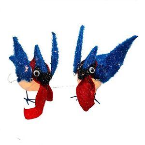 Tinsel Set Of 2 Blue Jay Birds Sculpture Lighted Xmas Decoration Indoor Outdoor