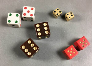 Lot of 4 Vintage Pairs of Dice White Tri-Color and Black Pips, Brown, Red