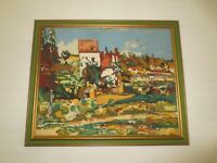 """Framed COLORFUL ABSTRACT BUILDINGS NEEDLEPOINT Wall Hanging - 19.25"""" x 23.5"""""""