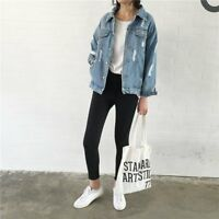 Women Casual Loose Fitting Washed Denim Ripped Jacket Outwear Jeans Coat