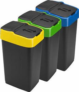 Heidrun Black Swing/Recyle Bins 35L Colour Ring Green,Blue,Yellow