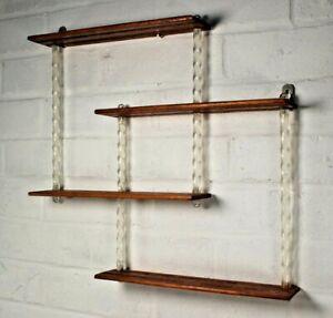 Unusual Vintage Mid Century Wall Hanging Wood Acrylic What Not Shelf Shelves