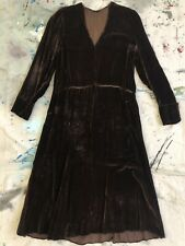 Vintage 1930s Brown Silk Velvet Dress Art Deco Long Sleeve Gown Handmade VTG 30s