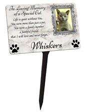 Your Photo Personalised Cat Kitten Memorial Plaque & Stake. garden grave