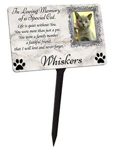 Your Photo Personalised Cat Kitten Memorial Plaque & Stake. garden grave