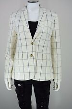 Banana Republic Womens Petite 10P Jacket White Window Pane Career Blazer New NWT