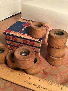 Set of 8 Vintage CHICAGO Maple Wood Roller Skate Wheels New Old Stock NOS