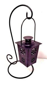 Candle Hanging Lantern Black Metal Tealight Flower Design