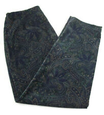 Talbots Stretch Womens Paisley Pants Blue Green Velvety Comfortable Size 18