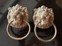 Pair of Vintage decorative Brass Lion knockers or towel holders/ cupboard pulls