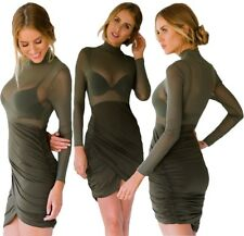 Abito cono trasparente Arricciato nudo Cerimonia Party Ruched Bodycon Dress L