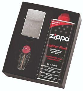 NEW Zippo #207 Street Chrome Lighter with Fluids & Flints Gift Boxed 90210GP