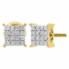 10K Oro Giallo Diamante Quadrato Borchie Piccolo 6.50mm 4 Polo Orecchini 0.25 KT