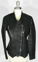BLANK NYC Size M Moto Pointed Hem Asymmetric Zip Black Faux Leather Jacket NWT