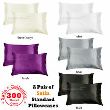 PAIR of 300TC Deluxe Essentials SATIN Standard Pillowcases - 5 Color Choice