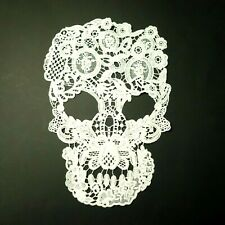 Sugar Skull White Crochet Lace, Large Applique, Motif, Sew-On Patch, Doily
