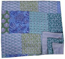 Hand Block Print Kantha Bedspread Patchwork Cotton Quilt King Size.Multi Patches