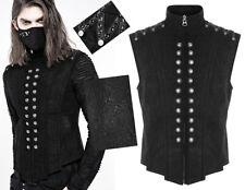 Engraved leather officer jacket vest gothic metal military buttons PunkRave Men