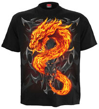 FIRE DRAGON T-Shirt Black |Flames |Skulls |Tribal |GothSkull