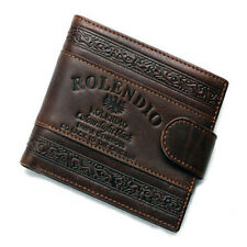 New Genuine Leather Bifold Mens Credit Card Holder Brown Wallet  ROLENDIO J212-1