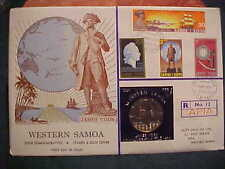 1970 HUTT COMMEMORATIVE WESTERN SAMOA UNCIRCULATED R12 COOK STAMP & COIN