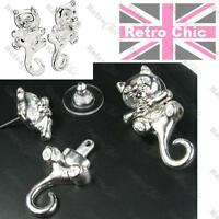 BIG KITTY CAT dangling tail AVON TYRA EARRINGS silver plated crystal BACK DANGLE