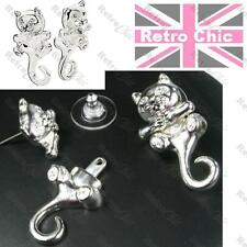 BIG KITTY CAT dangling tail AVON TYRA EARRINGS silver plated crystal tunnels
