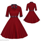 50'S 60S Lapel Vintage Style Swing Pinup Housewife Retro Evening Party Dress