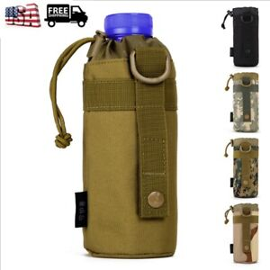 Outdoor Tactical Molle Water Bottle Bag Capimg Hiking Belt Kettle Holder Pouch