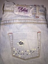 Girls YES  Denim Designer CHARM Bling Jeans Reg Rise Sz 14