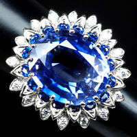 VIOLET BLUE TANZANITE RING OVAL 20.10 CT. SAPPHIRE 925 STERLING SILVER SIZE 7