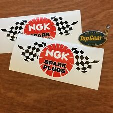 "NGK SPARK PLUG Chequered Flag Classic Car Bike Stickers Decals 6""  150mm  2 off"
