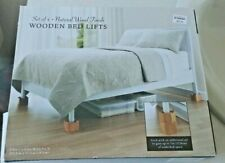 "Wooden BED LIFTS Natural Wood SET OF 4 (Bed,Bath,& Beyond) 3.8"" high"