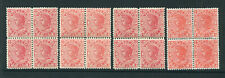 VICTORIA 1907/12 SELECTION OF 1D RED DIFFERENT SHADES IN BLOCKS OF 4. VF MINT