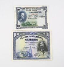 1925-1928 Spain 100 1000 Pesetas Notes Lot VF Banco de Espana Very Fine 69c 78a