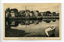 "Rockport MA Mass village, wharf, boat, reflecting image, ""trick"" postcard, linen"