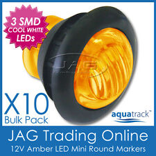 10 x 12V 3-SMD LED AMBER ROUND MARKER/CLEARANCE LAMP PILOT LIGHT - Truck/Trailer