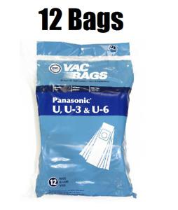 (12) Vacuum Bags for Sharp Upright Type PU-2 Also Fits Panasonic U, U-3, U-6